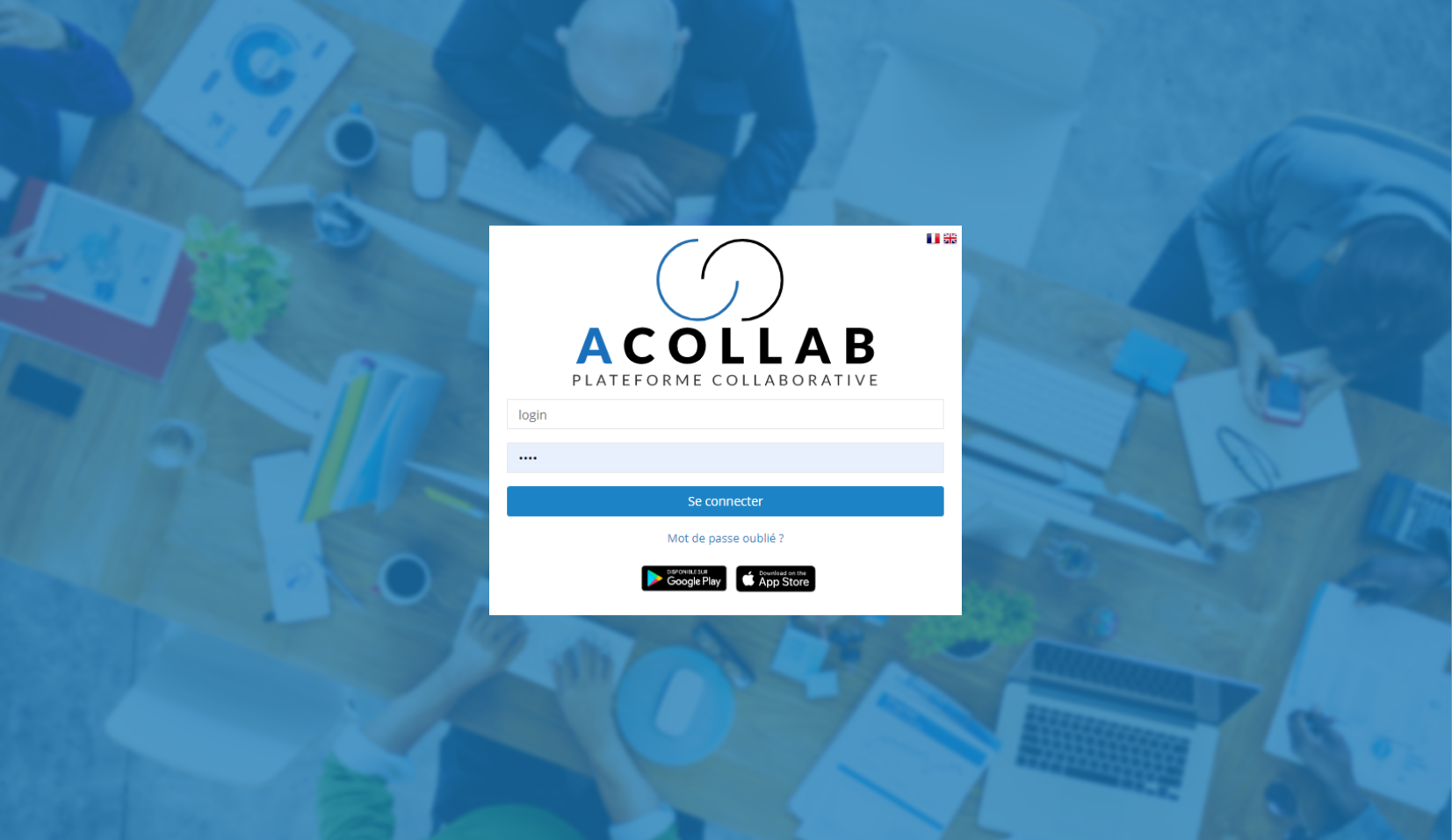 Plateforme collaborative Acollab - Login